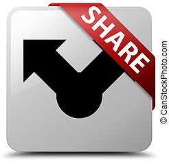 Share white square button red ribbon in corner