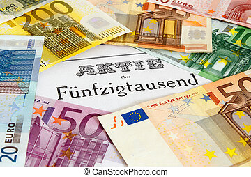 Share with Euro banknotes - Share outlined with Euro...