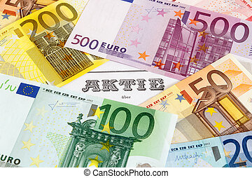 Share with Euro banknotes - German Share outlined with Euro...