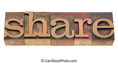 share word in vintage wood letterpress printing blocks, stained by color inks, isolated on white
