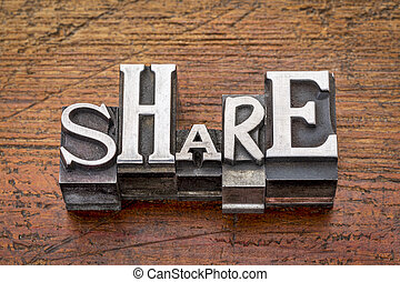 share word in metal type