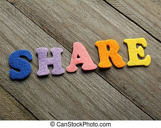 share word on wooden background