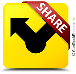 Share yellow square button red ribbon in corner
