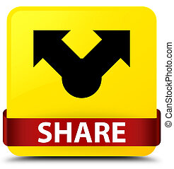 Share yellow square button red ribbon in middle