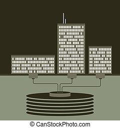 Shared Data Center - Vector illustration of three buildings...