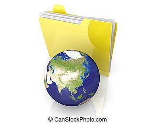 Shared Folder - 3D rendered Illustration. Global network...