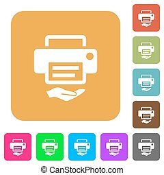 Shared printer rounded square flat icons