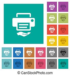 Shared printer square flat multi colored icons
