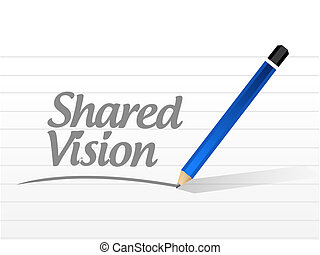 shared vision message illustration design over a white...