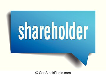 shareholder blue 3d speech bubble