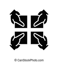 Shareholders black icon, concept illustration, vector flat symbol, glyph sign.