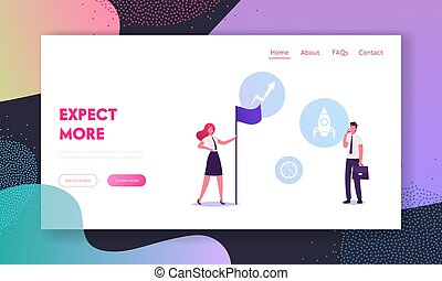 Shareholders Website Landing Page. Businesswoman Hold Flag, Businessman with Mobile Discussing Start Up Project, Investment and Corporate Situation Web Page Banner. Cartoon Flat Vector Illustration