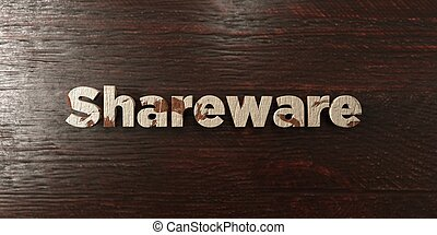 Shareware - grungy wooden headline on Maple - 3D rendered ...