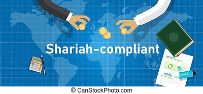 Shariah compliant. Concept of compliance with Islamic rule of law standard in financial money banking organization