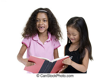 Sharing a book - Two friends sharing a book. Education...