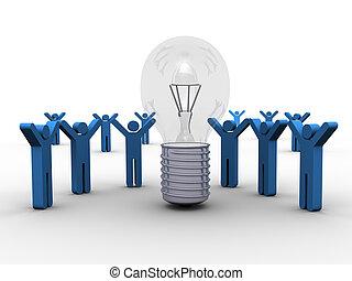 Sharing a Winning Idea- 3D concept Art -a group of people ...