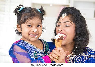 Sharing an ice cream.