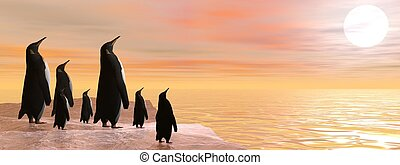 Sharing beauty - 3D render - Penguin family sharing the...