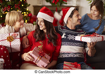 Sharing Christmas presents with family