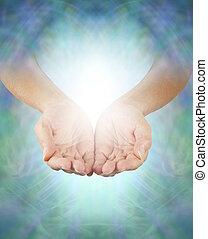 Sharing Divine Healing Energy - Female healing hands...