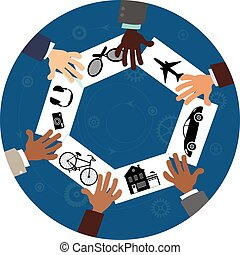 Sharing economy, conceptual vector illustration, EPS8, no transparencies
