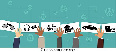 Sharing economy, conceptual vector illustration, EPS8, no...