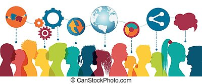 Sharing ideas. Communication network diverse people. Network teamwork. Multiethnic. Connection and exchange of ideas - data or questions. Future technology. Mind Map. Upload download data