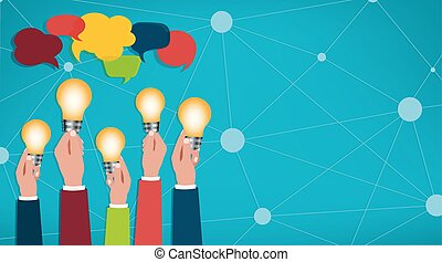 Sharing ideas. Hands with light bulbs. Communication and discussion community social network. Connection between groups of people or friends. People who communicate online via the web. Speech bubble