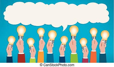 Sharing ideas. Hands with light bulbs. Communication and discussion community social network. People who communicate online via web. Connection between groups of people or friends. Speech bubble