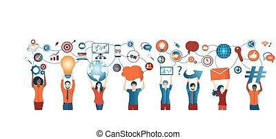 Sharing ideas. Network teamwork. Communication network diverse people. Multiethnic. Connection and exchange of ideas - data or questions. Future technology. Mind Map. Upload download data