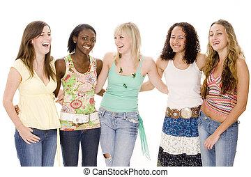 Sharing Joke - A group of five attractive young women share...