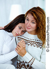 Sharing problem - Photo of pretty woman embracing her...