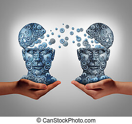 Sharing technology business concept as hands holding two human heads made of gears and cog wheels exchanging information as a symbol and financial metaphor for buying and selling or share data from one company to another.
