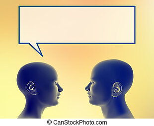 Sharing thought - Profile of a woman sharing a thought with ...