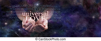 Man's cupped hands emerging from dark blue deep space background surrounded by a Universal Love word cloud with copy space on right hand side