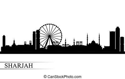 sharjah, 都市 スカイライン, シルエット, 背景