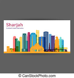 Sharjah city architecture silhouette. Colorful skyline.