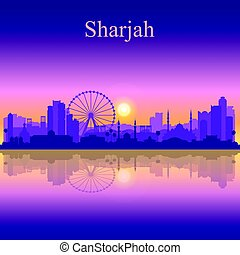 Sharjah silhouette on sunset background