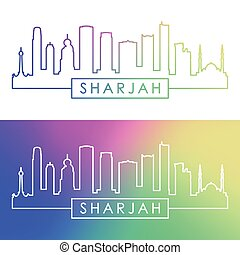 Sharjah skyline. Colorful linear style.
