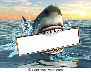 A shark holding a billboard in his mouth. Copyspace available to insert your own text/images. Digital illustration.