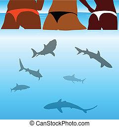 shark and beauty bikini girl