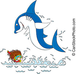 Shark and diver - Vector clip-art illustration of a great ...