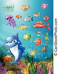 Shark and fish swimming under the sea