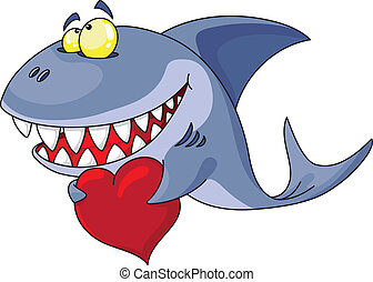 shark and heart - illustration of a shark and red heart