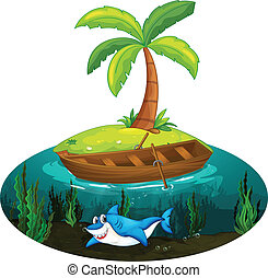 Illustration of a shark and island