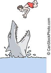Shark and man - Creative design of shark and man