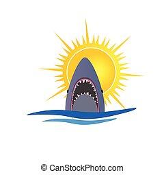shark and sun vector illustration