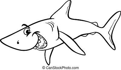 shark animal cartoon coloring book - Black and White Cartoon...