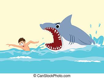 Shark Attack - Cartoon illustration of a man avoiding shark...