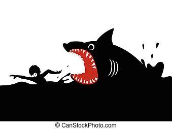 Shark Attack - Cartoon illustration of a man swimming panic...
